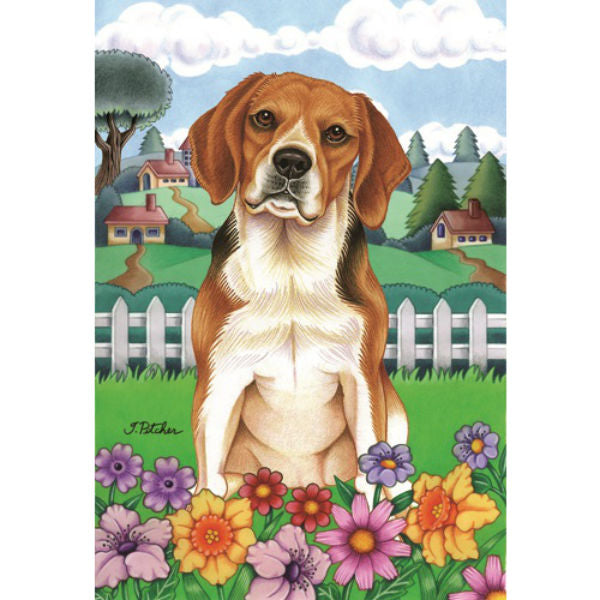Spring Flowers Beagle Flag