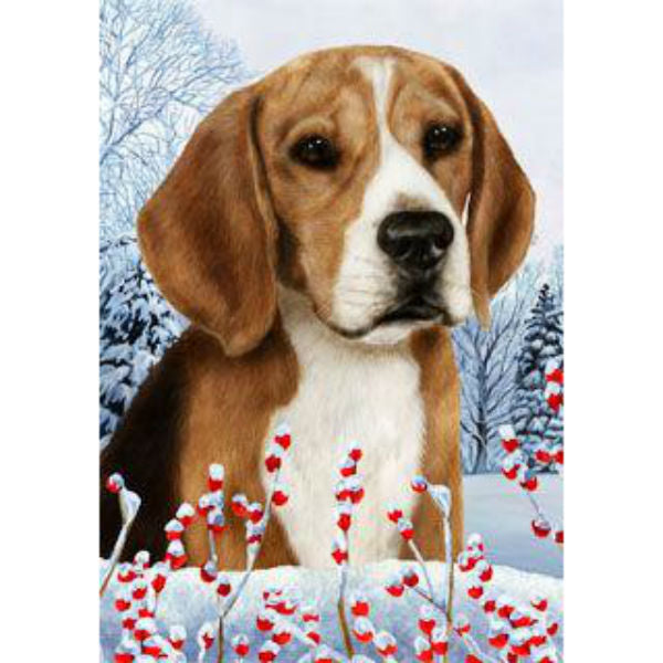 Winter Berries Beagle Flag