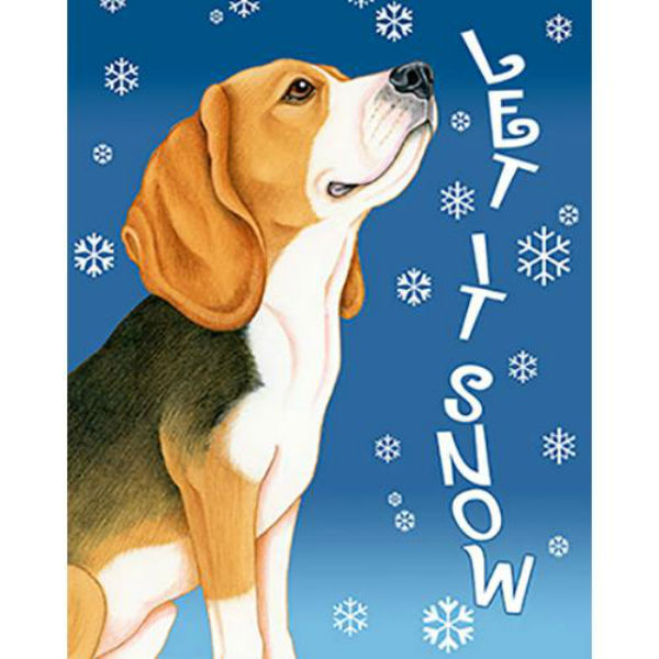 Let It Snow Beagle Flag