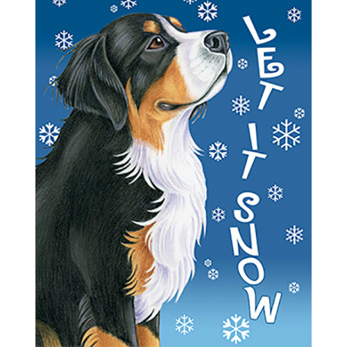 Let It Snow Bernese Mountain Dog Flag
