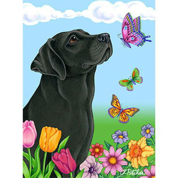 Tomoyo Pitcher Butterflies Garden Flag - Labrador Retriever