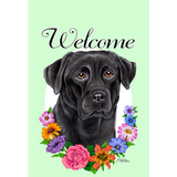 Tomoyo Pitcher Welcome Flowers Garden Flag - Labrador Retriever