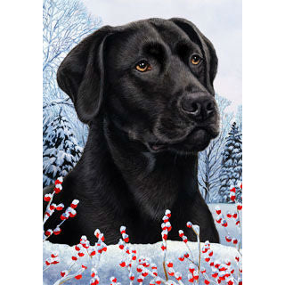 Tamara Burnett Winter Berries Labrador Retriever Flag