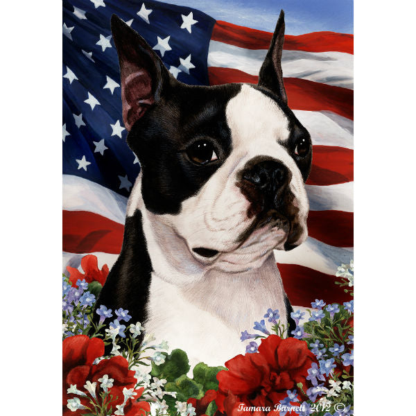 Patriotic Boston Terrier Flag