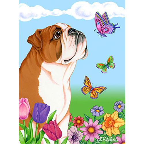 Butterflies Bulldog Flag