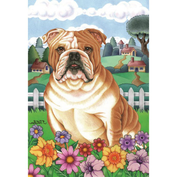 Spring Flowers Bulldog Flag