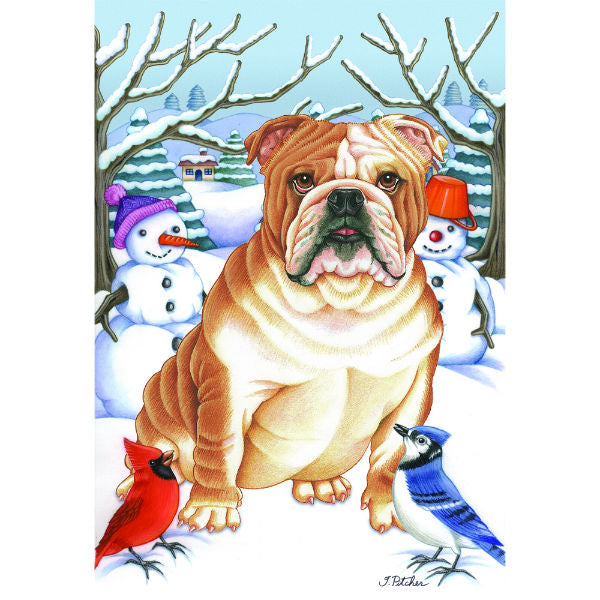 Winter Wonderland Bulldog Flag