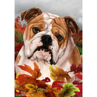 Fall Leaves Bulldog Flag
