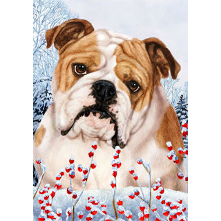 Winter Berries Bulldog Flag