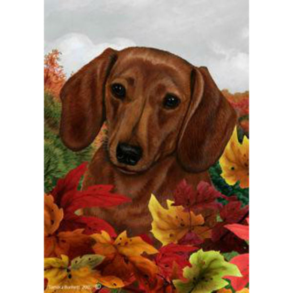 Tamara Burnett Fall Leaves Dachshund Flag
