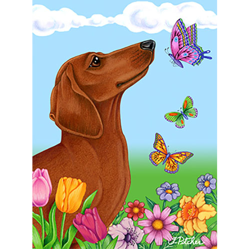 Tomoyo Pitcher Butterflies Dachshund Flag