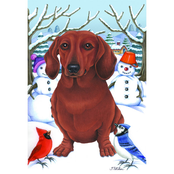 Winter Wonderland Dachshund Flag