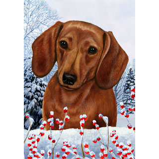 Winter Berries Dachshund Flag