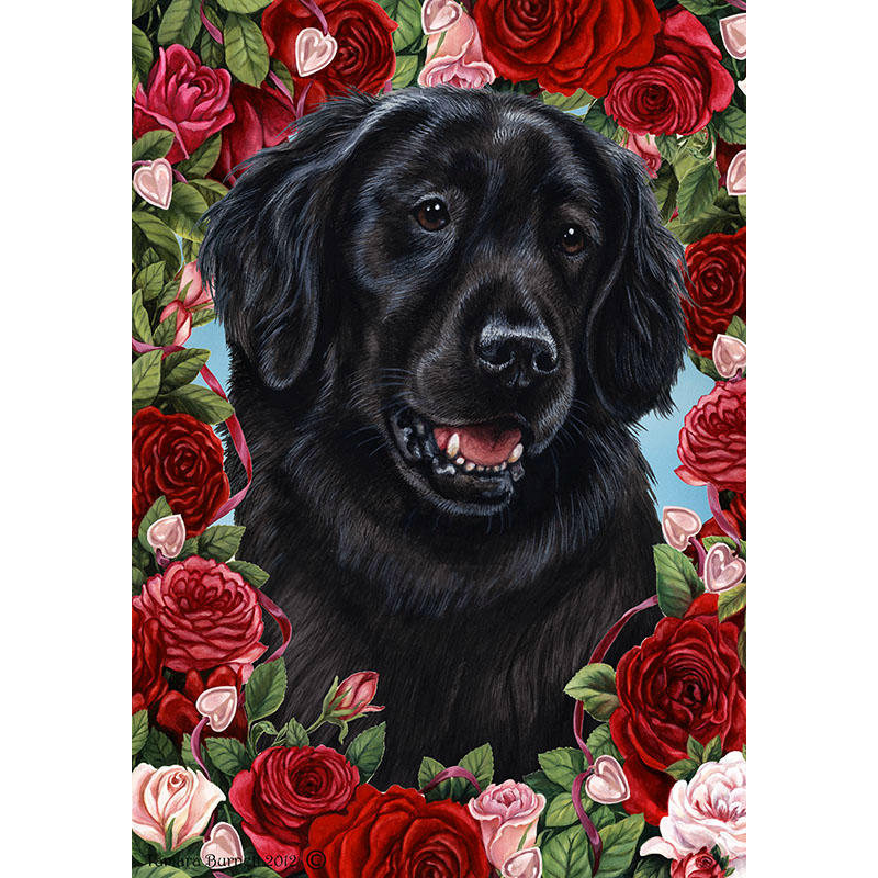 Tamara Burnett Valentine Roses Flat Coated Retriever Flag