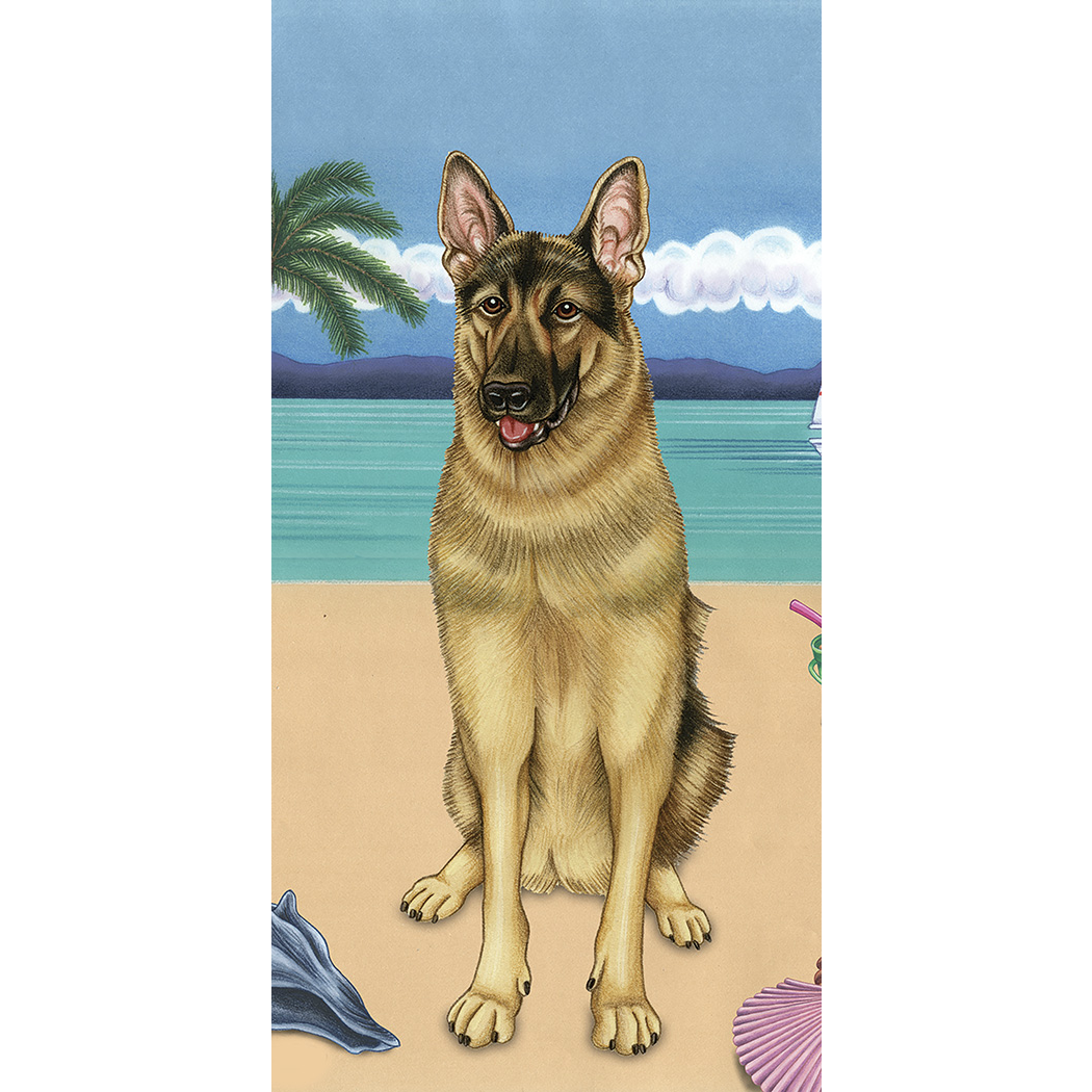 Summer German Shepherd Beach Towel