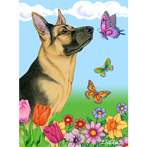 Butterflies German Shepherd Flag