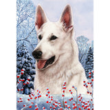 Winter Berries German Shepherd Flag