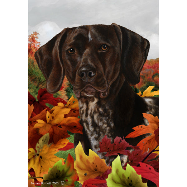Fall Leaves German Shorthaired Pointer Flag