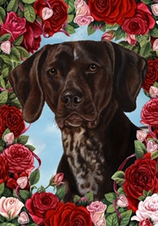Valentine Roses German Shorthaired Pointer Flag