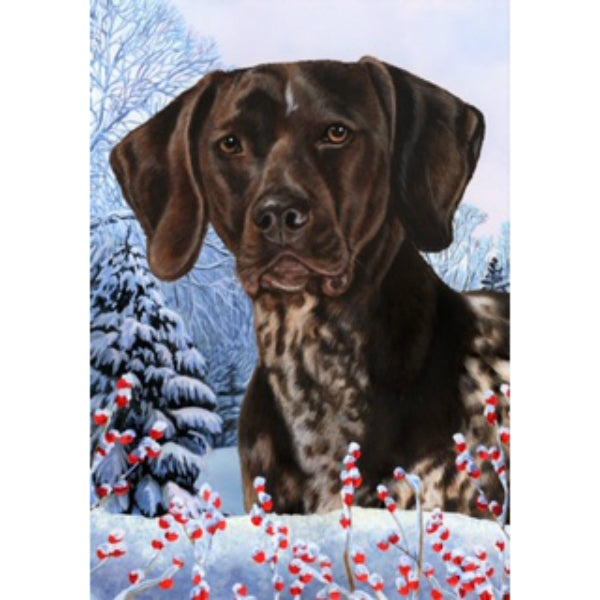 Winter Berries German Shorthaired Pointer Flag