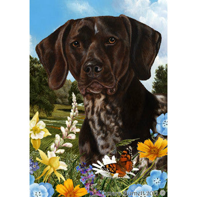 Tamara Burnett Summer Flowers German Shorthaired Pointer Flag