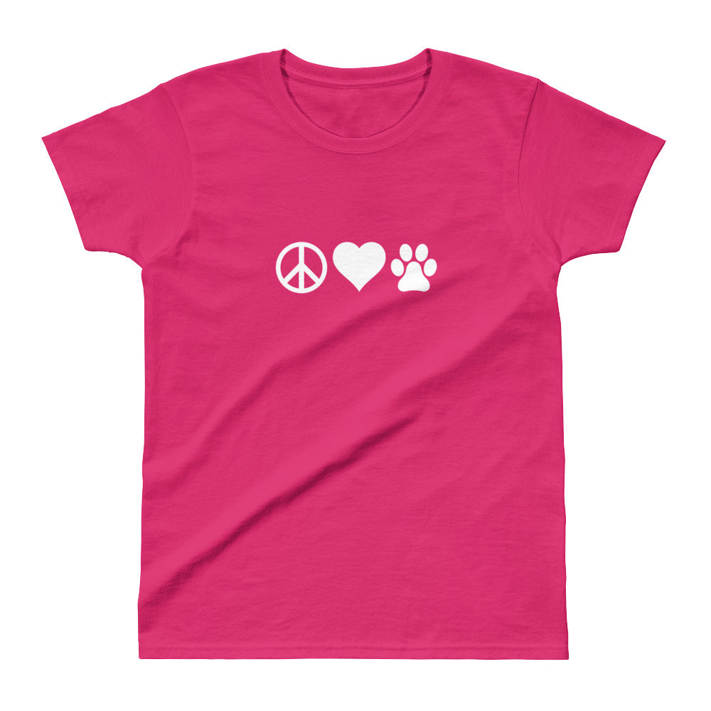 Ladies' Peace Love Dogs Tee
