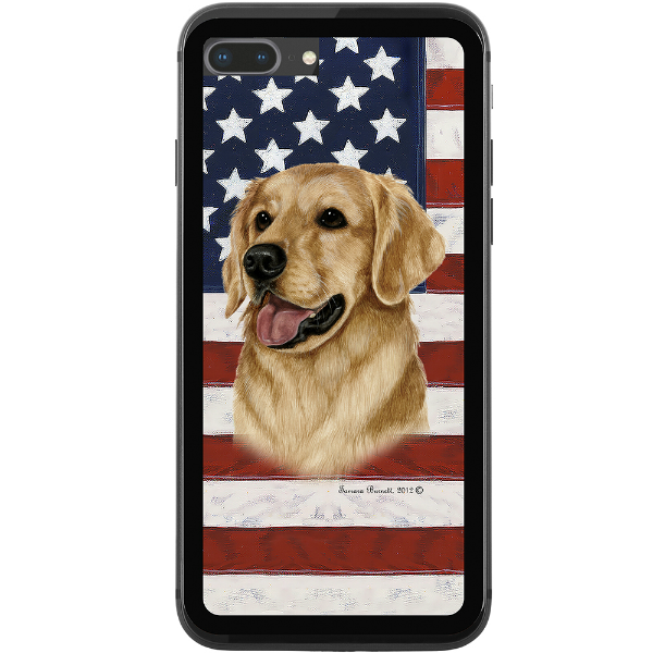 Patriotic Golden Retriever Phone Case