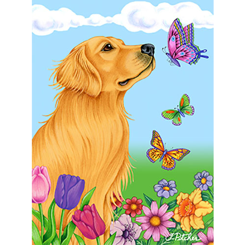 Butterflies Golden Retriever Flag