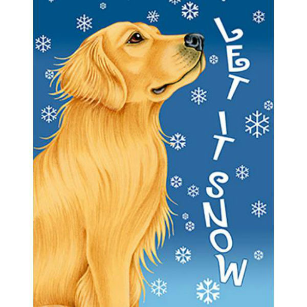 Tomoyo Pitcher Let It Snow Golden Retriever Flag