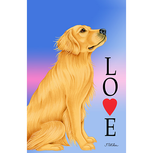 Tomoyo Pitcher Love Flag - Golden Retriever