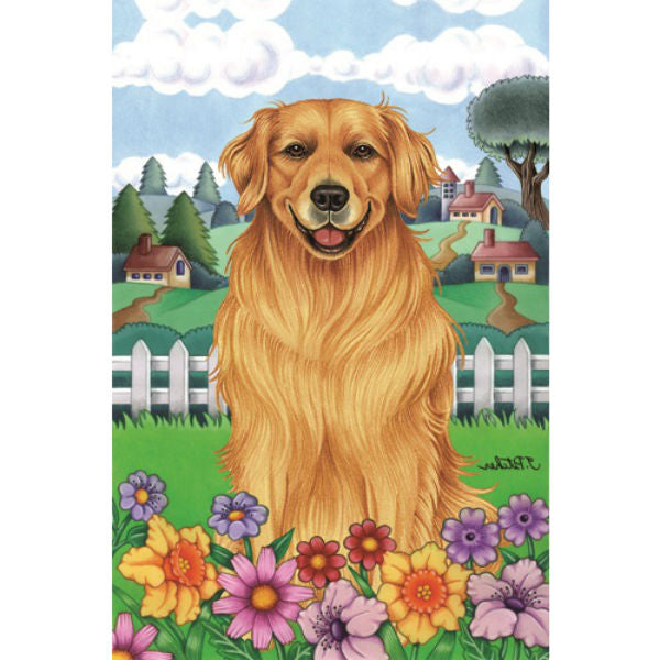 Spring Flowers Golden Retriever Flag