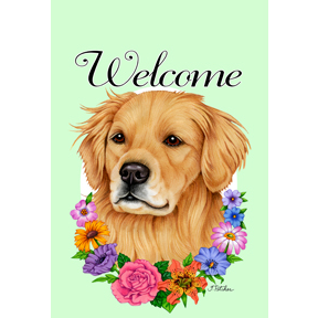 Welcome Flowers Golden Retriever Flag