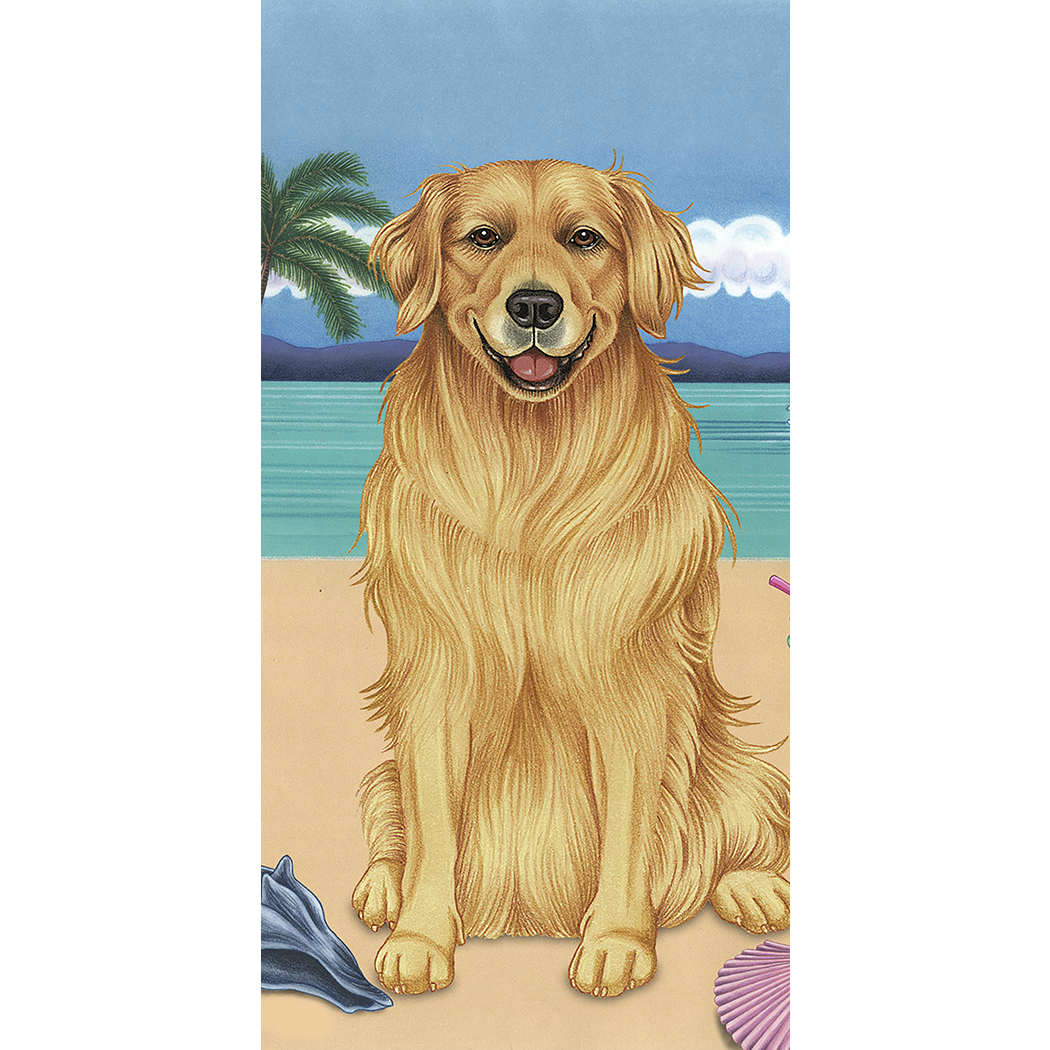 Summer Golden Retriever Beach Towel