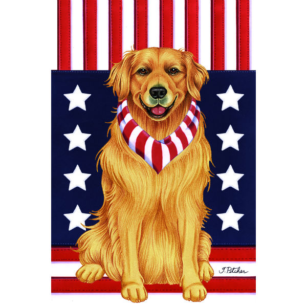 USA Golden Retriever Flag