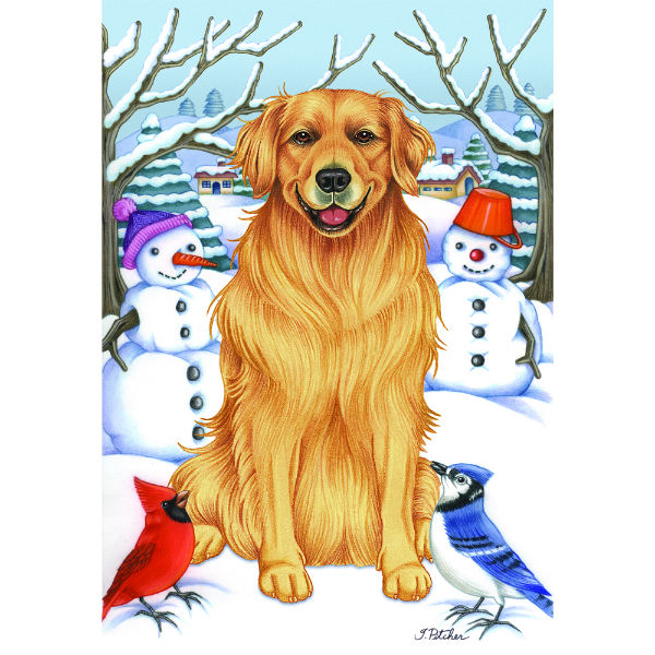 Winter Wonderland Golden Retriever Flag