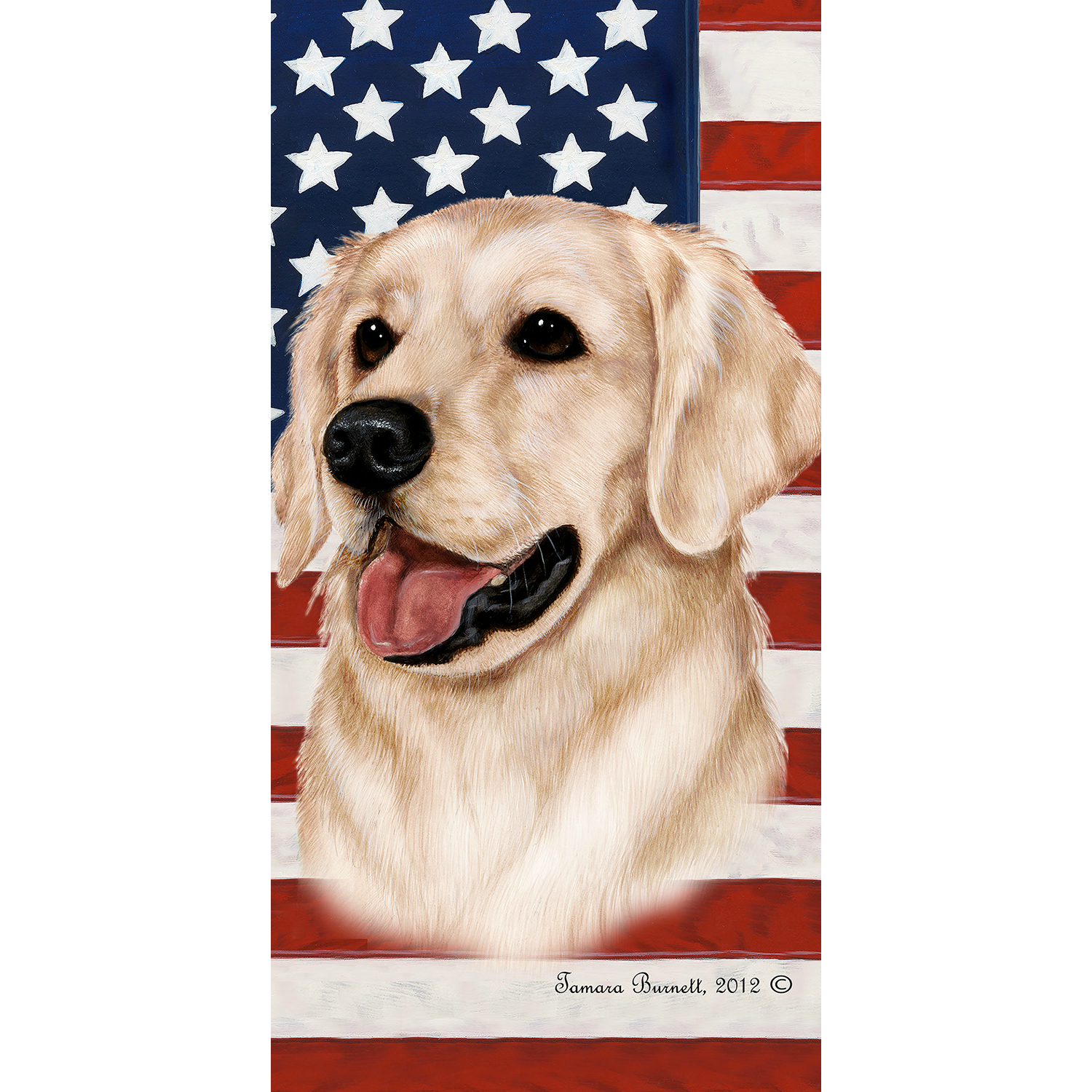 Patriotic Golden Retriever Beach Towel