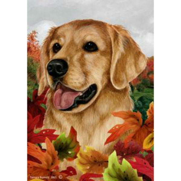 Tamara Burnett Fall Leaves Golden Retriever Flag