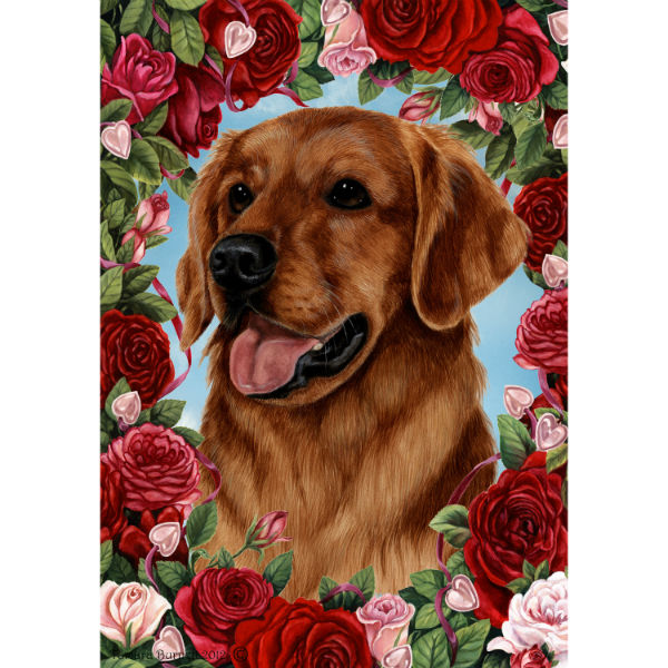 Valentine Roses Golden Retriever Flag
