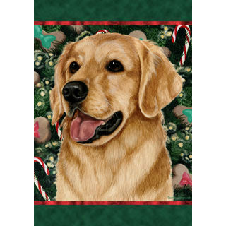 Tamara Burnett Christmas Golden Retriever Flag