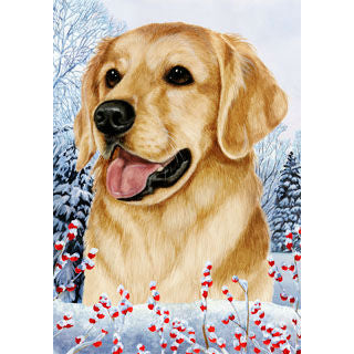 Winter Berries Golden Retriever Flag