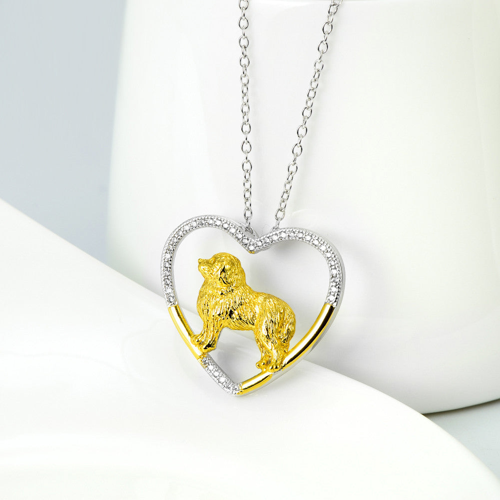 Sterling Silver Great Pyrenees Heart Necklace