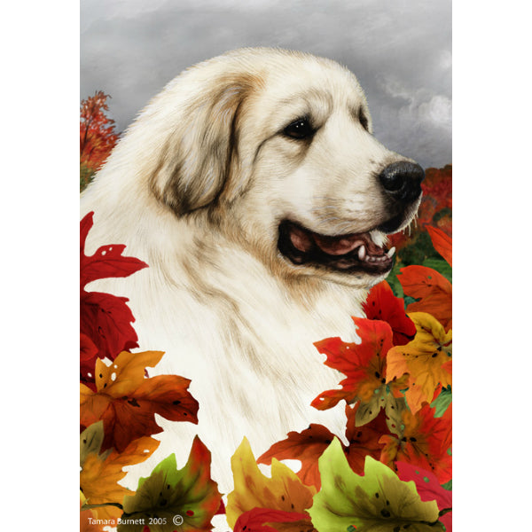 Fall Leaves Great Pyrenees Flag