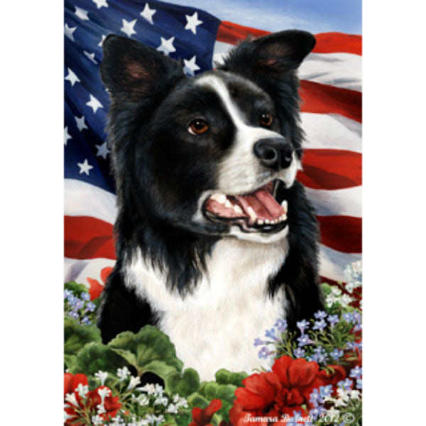 Patriotic Border Collie Flag