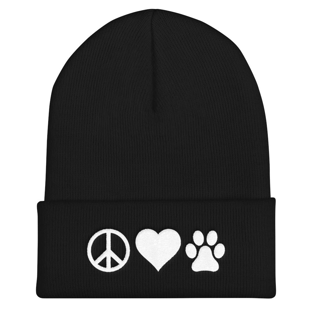 Peace Love Paw Knit Ski Hat