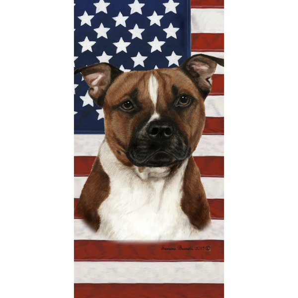 Patriotic Pit Bull Beach Towel