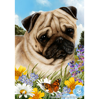 Tamara Burnett Summer Flowers Pug Flag