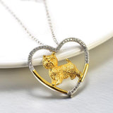 Sterling Silver Westie Heart Necklace