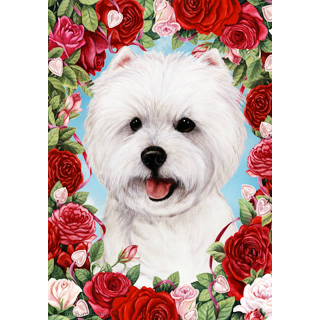 Valentine Roses West Highland Terrier Flag