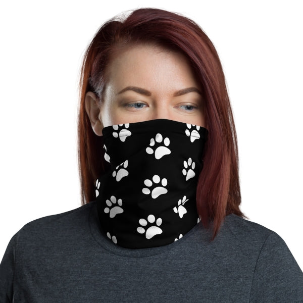 White Paw Print Neck Gaiter Face Covering
