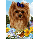 Summer Flowers Yorkshire Terrier Flag